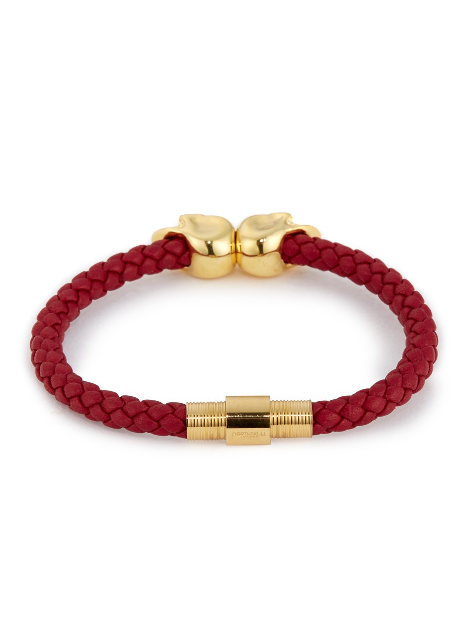 Nappa Mens Red Leather Bracelet With 18kt Twin Gold Skulls
