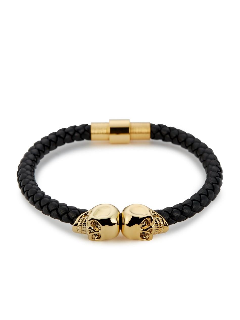 Black Nappa Leather 18kt Gold Twin Skull Bracelet