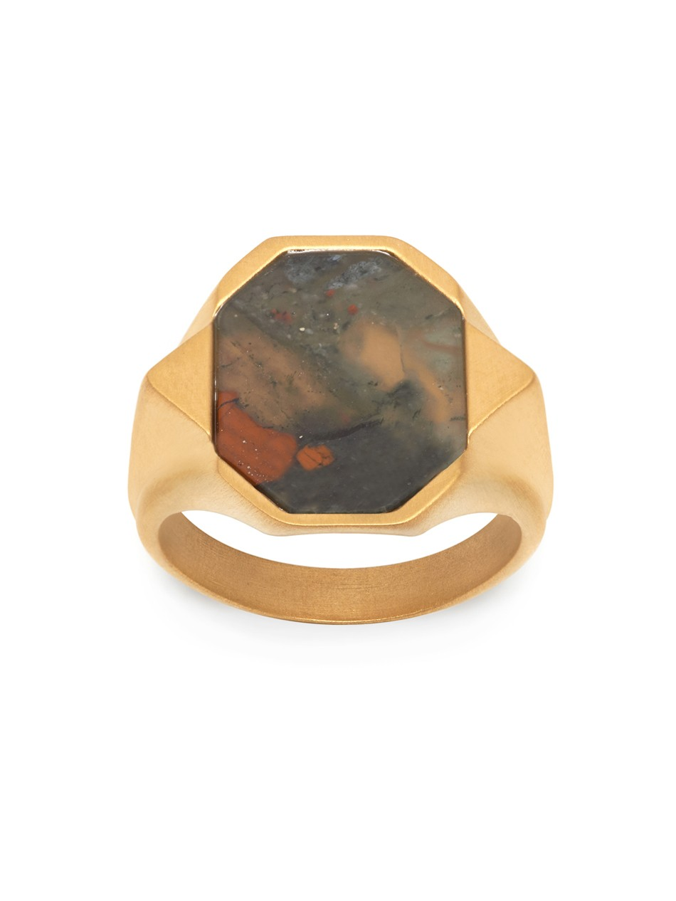 Agbara Ring in Brushed Gold with Bloodstone