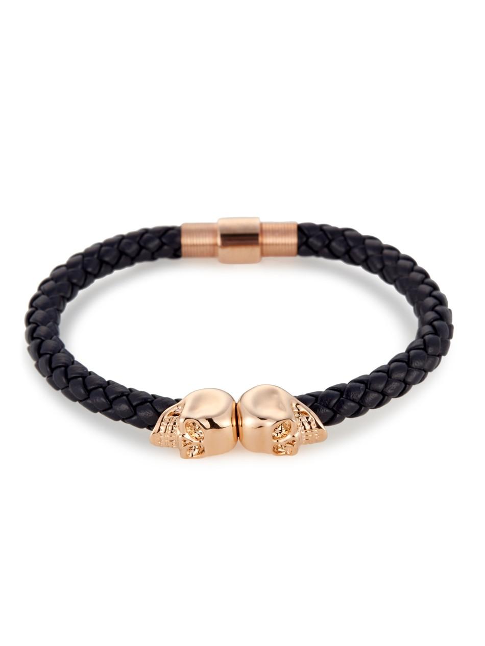 Mens Blue Leather Bracelet With 18kt Rose Gold Twin Skulls