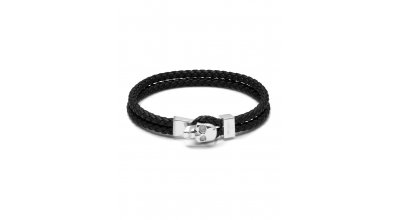 New In sterling silver. Micro Atticus Skull Hook Leather Bracelet ...